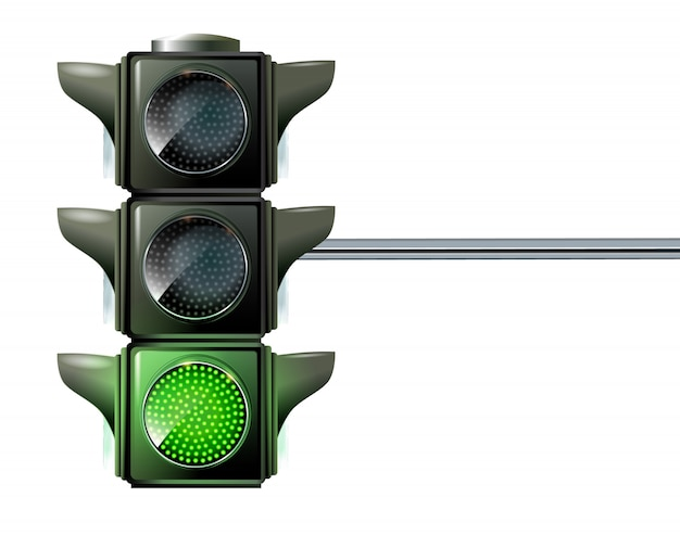Traffic light the three colors light up red, yellow and green at the same time.