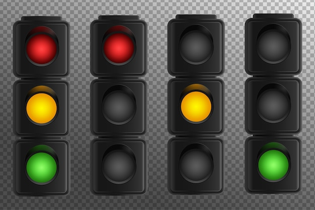Traffic light on a transparent background