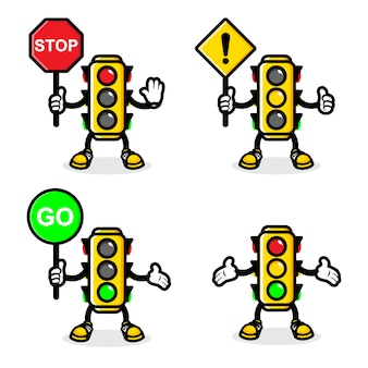Traffic light vector design set