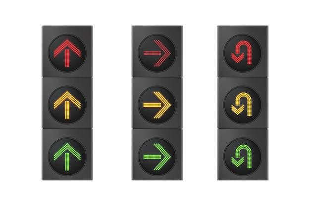 도로 교통 방향 제어를위한 화살표가있는 신호등. 고속도로 세트 흰색 배경에 고립에 대 한 현실적인 가로등.