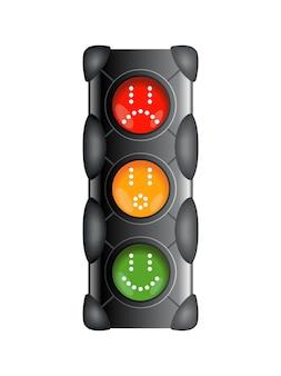 빨간색, 노란색 및 녹색 색상의 신호등. 평면 그림 흰색 배경에 고립입니다.