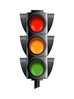 赤、黄、緑の信号機。