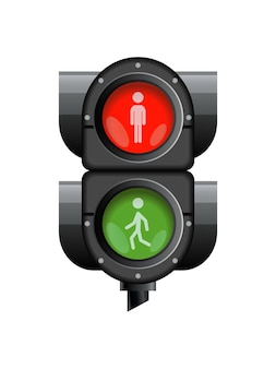 Traffic light with red, yellow and green color.
