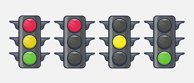 Traffic light with reflection and shadow illustration