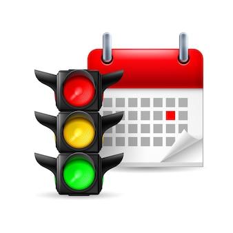 信号機とカレンダー