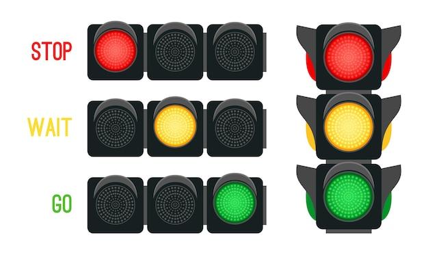 신호등 개념입니다. 도시에서 교통을 운전하기 위한 안전 신호, 세마포가 있는 도시 안전, 흰색 배경에 격리된 교차로에 대한 벡터 일러스트레이션 신호등