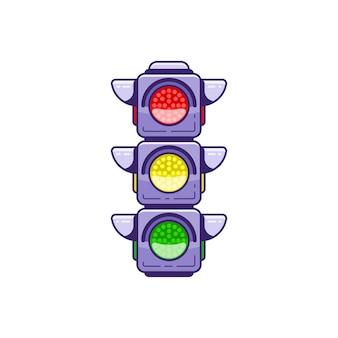 Значок светофора, изолированные на белом фоне плоский стиль линии арт иллюстрации