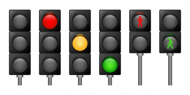 Traffic lights icons set, realistic style