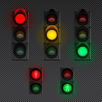 Traffic lights realistic transparent icon set with traffic light for pedestrians and different others  illustration
