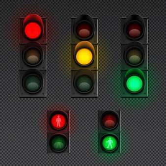 L'icona trasparente realistica dei semafori ha messo con il semaforo per i pedoni e l'illustrazione differente altri