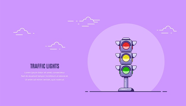 Traffic lights and text template. flat style.