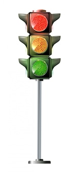 Traffic lights - toy isolated on white background