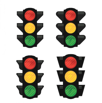 Traffic lights vector isolated