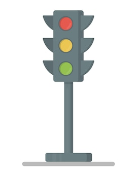 세 가지 색상이 모두 켜진 신호등. 평면 디자인 벡터 illustration.traffic 빛 요소