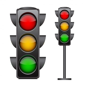 Traffic lights with all three colors on. photo-realistic    on white background