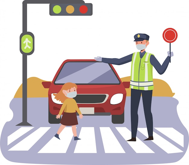 Traffic police is helping a young little girl crossing the road