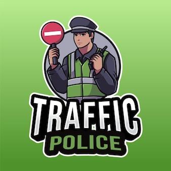 그린에 고립 된 교통 경찰 로고 템플릿