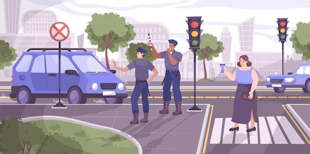 Traffic police scene with stop signal flat illustration