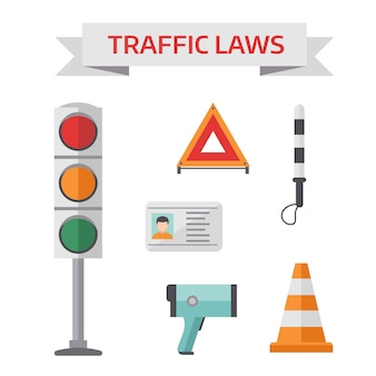 Traffic road police symbols set flat elements isolated illustration.