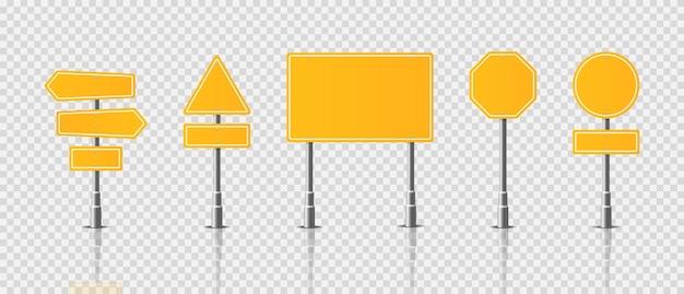 Реалистичные знаки дорожного движения на прозрачном фоне