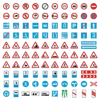 Traffic road sign collection icons set