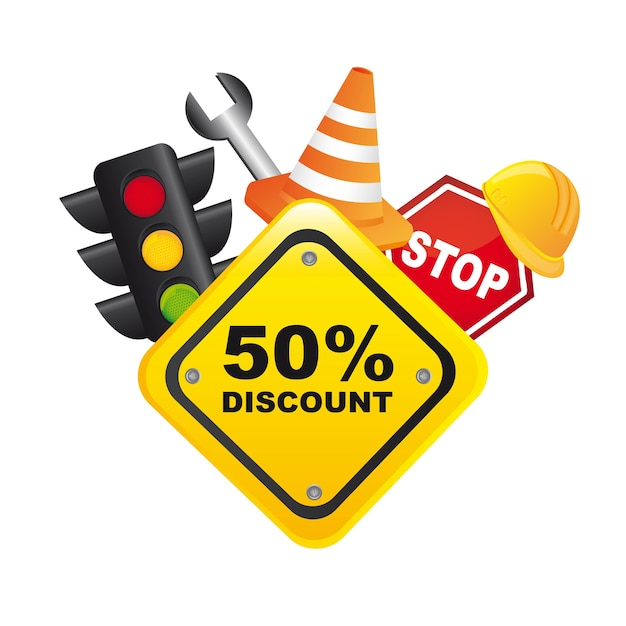 Traffic sale icons with yellow sign over white background vector
