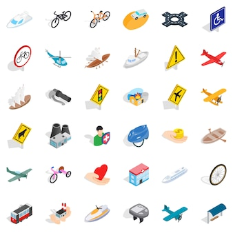 Traffic sign icons set, isometric style
