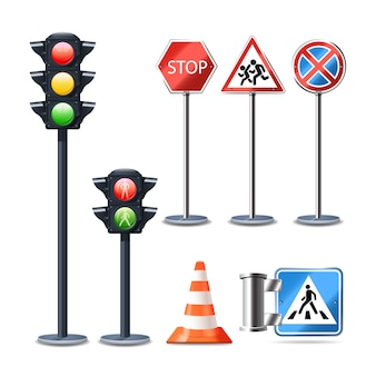 Traffic sign and lights realistic 3d decorative icons set