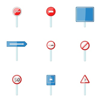 Traffic sign set, cartoon style