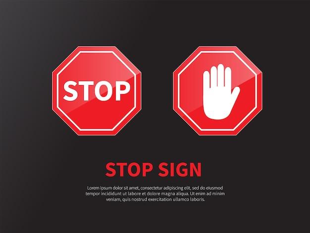 교통 표지 정지 세트