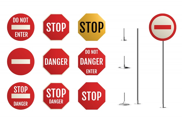 Traffic signs. blank warning, danger