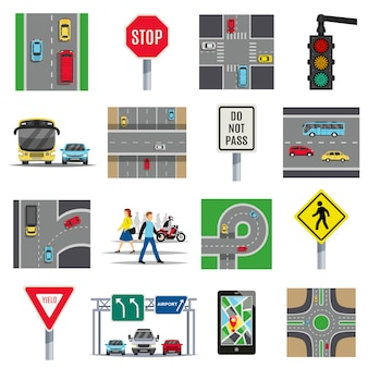 Traffic signs flat elements collection
