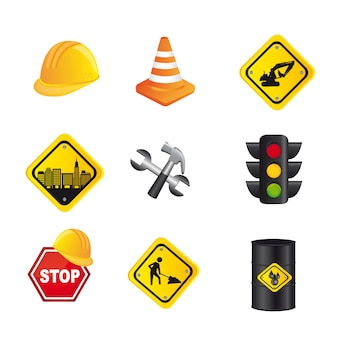 Traffic signs isolated over white background vector illustration