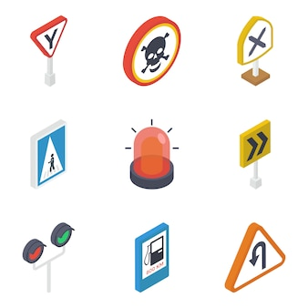 Traffic signs isometric pack