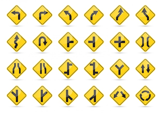 Traffic signs set. yellow road signs.