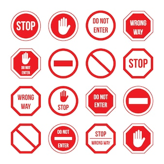 Traffic stop sign with warning message information set. different regulation signal, roadsign with wrong way, do not enter, forbidden driveway notice vector illustration isolated on white background