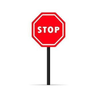 Значок сигнала остановки движения. управление дорожным движением. запрещенный знак. вектор на изолированном белом фоне. eps 10