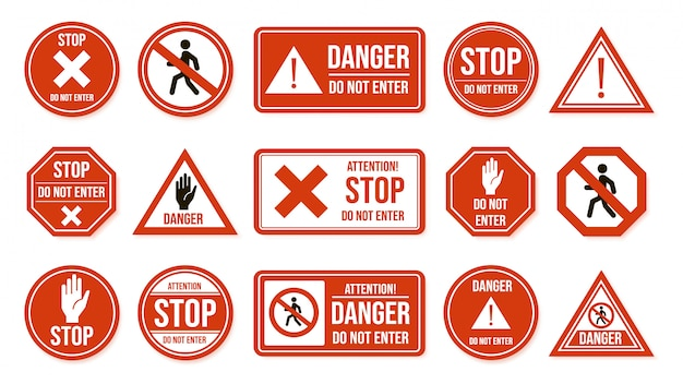 Traffic stop signs. do not enter, warning traffic road sign. stop, no admittance, prohibitory character street driving directions   icons. transportation forbidden, enforcement symbols