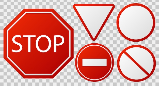 Traffic stop signs. red police restricted road sign to enter stop danger isolated   icon set