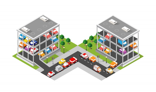 Traffic transport city multi-story parking carpark garage