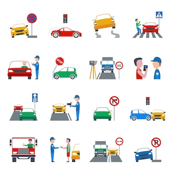 Traffic violation icons set