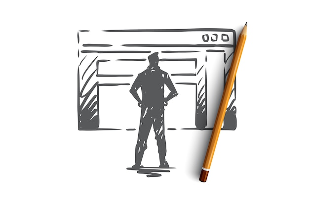 Traffic, website, internet, technology, digital concept. hand drawn manager presents a traffic report concept sketch.