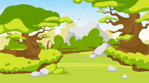 トレイル燃えるようなイラスト。ファンタジーの森の道。神秘的なジャングルを抜ける道。森の中の小道のパノラマ風景。エキゾチックな野生の土地を探索するルート。熱帯雨林の漫画の背景