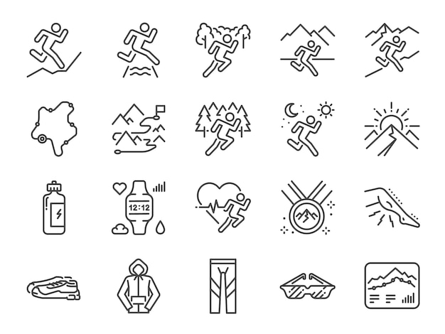 Trail running line icon set.