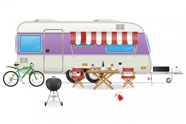 Trailer camp caravan vector illustration
