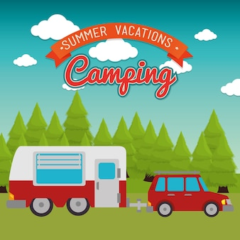 Trailer camp isolated icon vector illustration design