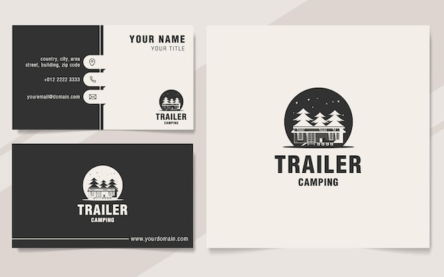 Trailer camping logo template on monogram style