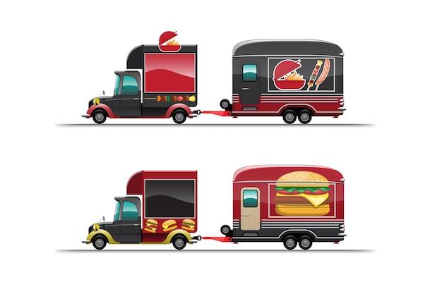 白い背景の上のバーベキューとハンバーガーのトレーラーフードトラック、イラスト