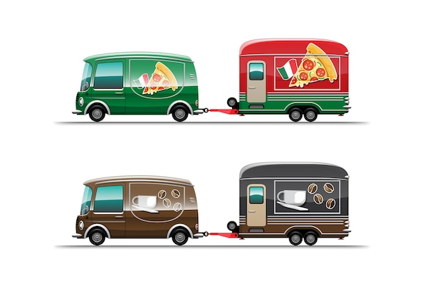 Trailer food truck of pizza and coffee shop on white background,  illustration