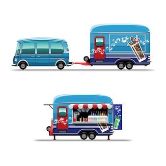 白い背景の上のスタイルのフラットなイラストを描く冷たい飲料店とトレーラーフードトラック